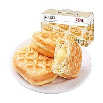 百草味 华夫饼手撕夹心面包 800g