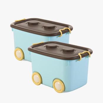 当当优品 带滑轮车型收纳箱 50L 2个装